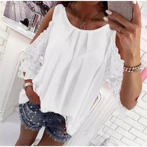 NEW Cold-shoulder Lace Sleeve Round Neck Blouse